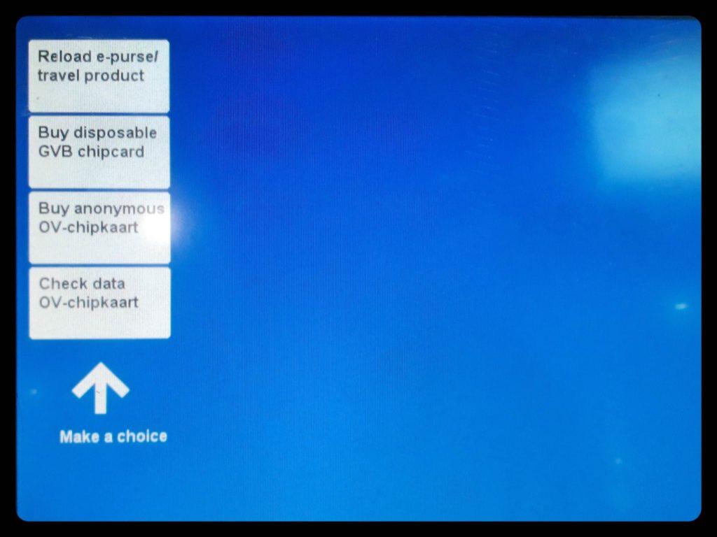GVB券売機の英語画面