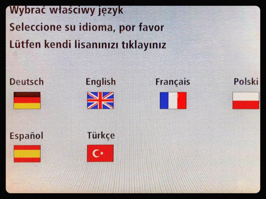 BVG券売機の画面で言語を選択