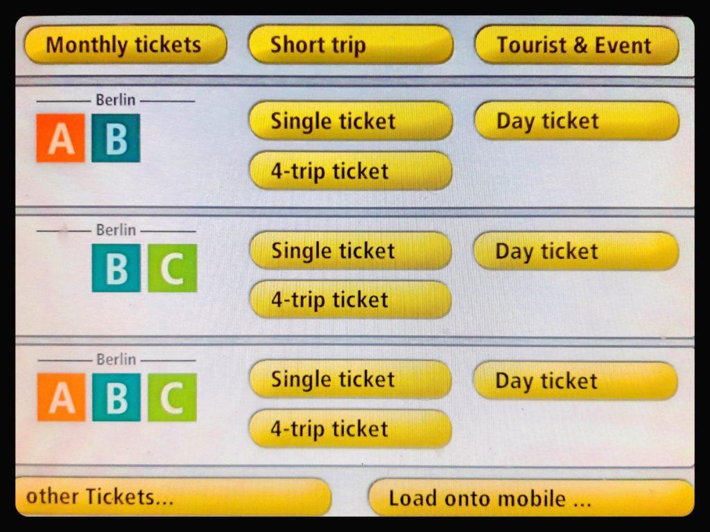 BVG自動券売機の英語画面