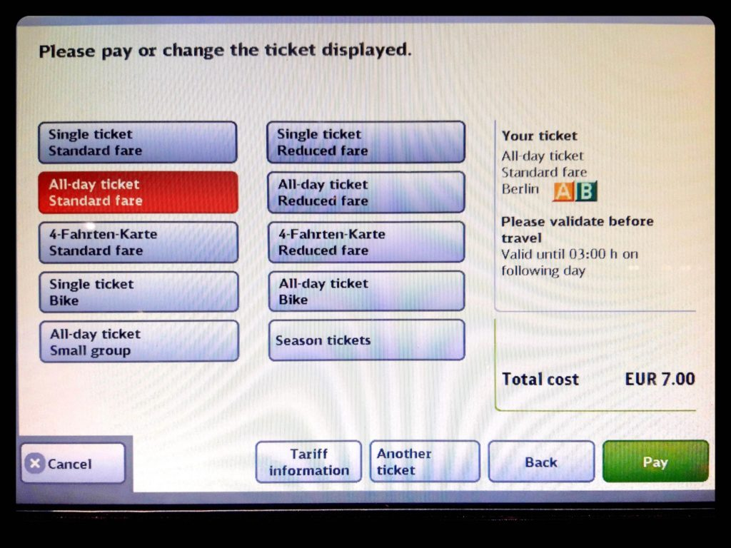 ベルリン自動券売機チケットを選択