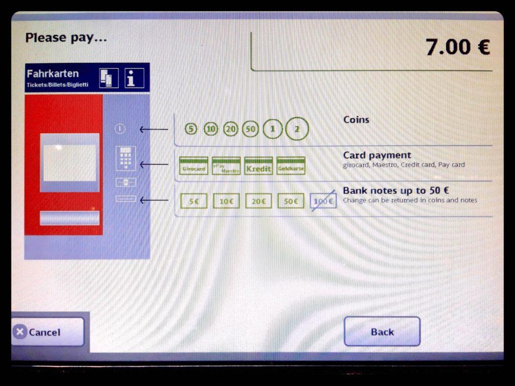 ベルリン自動券売機の決済画面