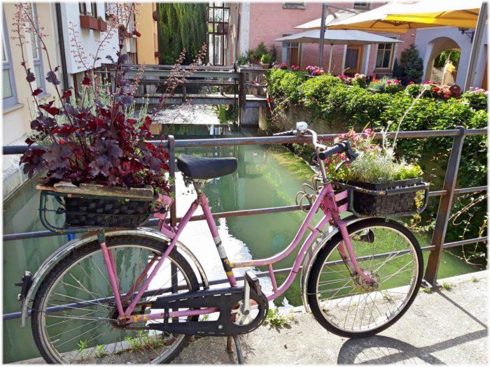 花飾りの自転車