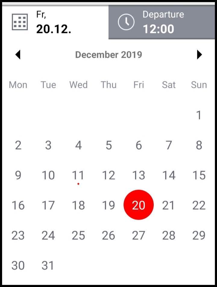 アプリの日付選択