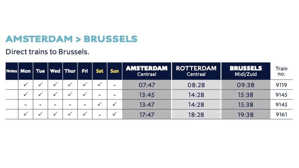 アムステルダム発のスケジュール