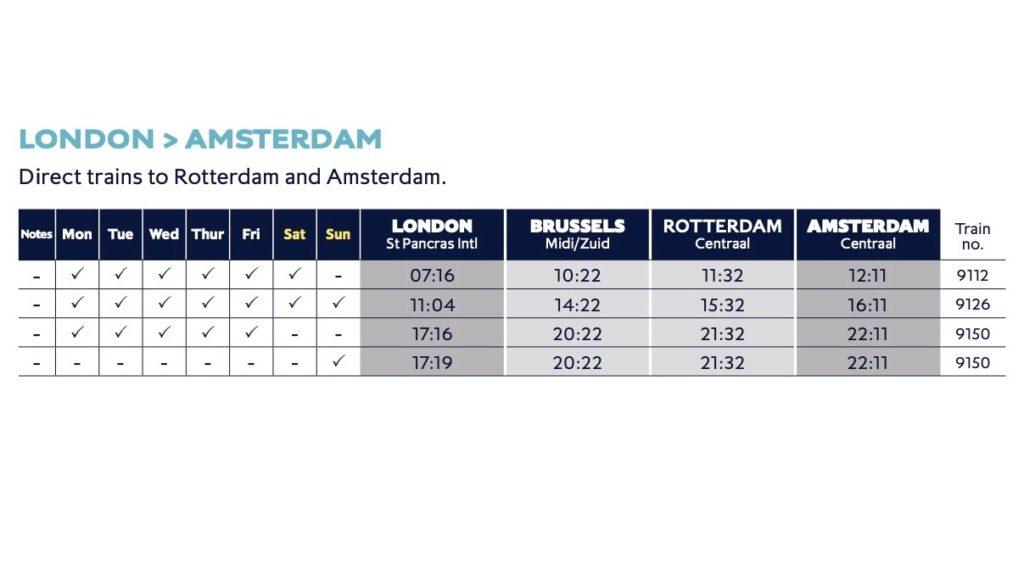 アムステルダム行きのスケジュール